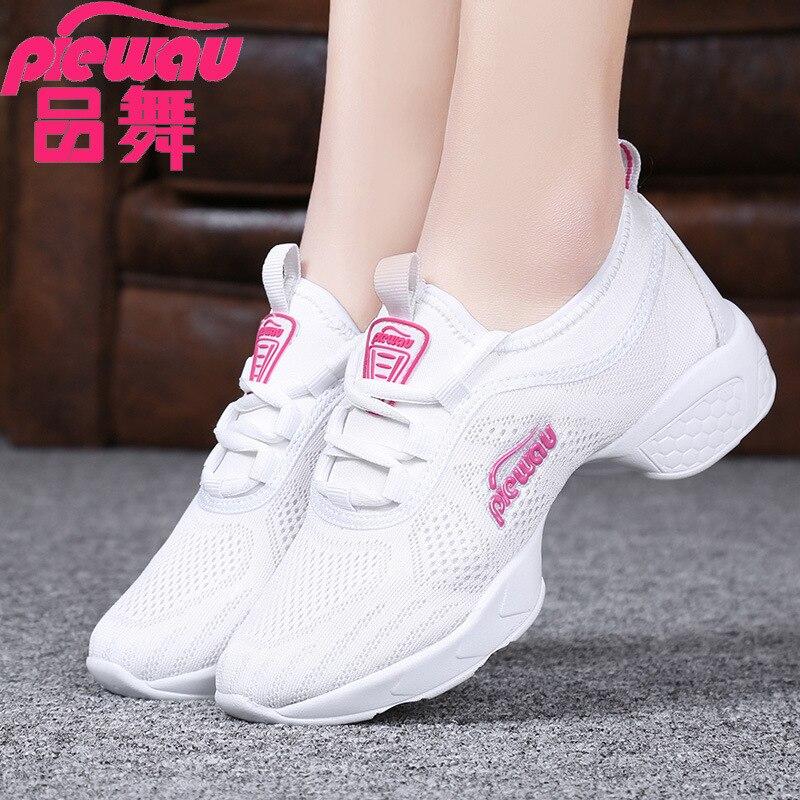 2019 Dance Shoes Women's Soft-Sole Adult Mesh Jump Dance Shoe Shoes For Square Dance Women's Extra High Ballet Latin Dance Shoes