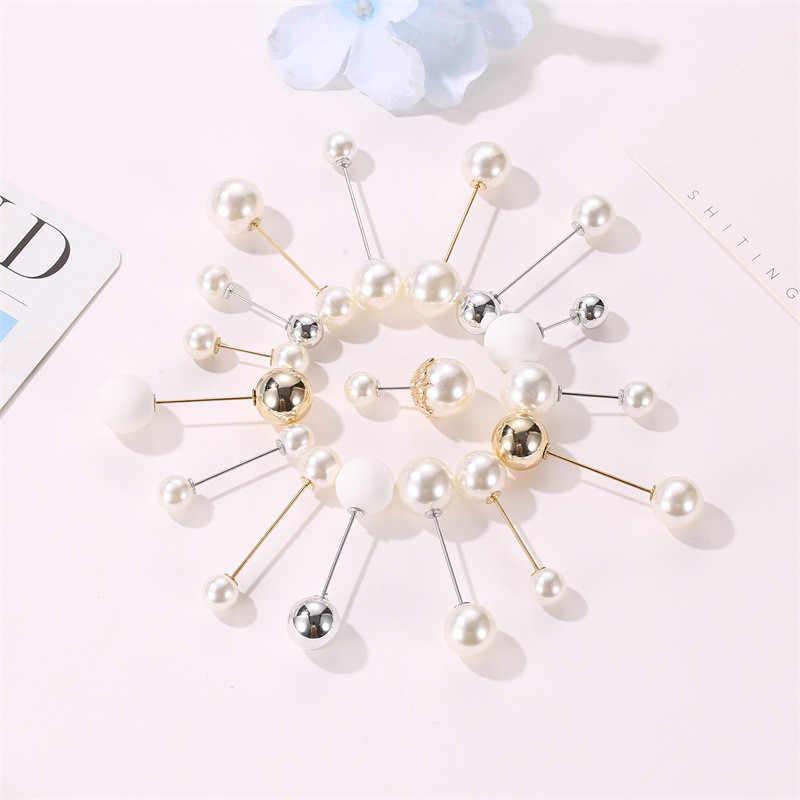 더블 헤드 브로치 핀 여성 빈티지 진주 브로치 여성 액세서리 은빛 웨딩 쥬얼리 브로치 핀 Femme 선물 Boho