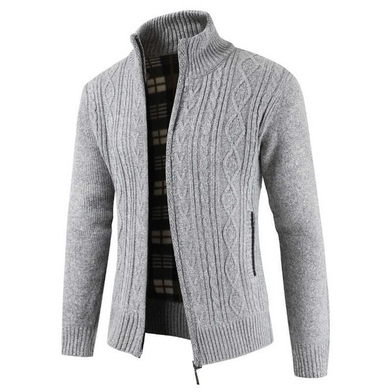 Zimowy gruby ciepły kardigan sweter mężczyzn dorywczo Slim Fit sweter męski dzianiny zamek jesień swetry dla mężczyzn 2019 Pull Homme