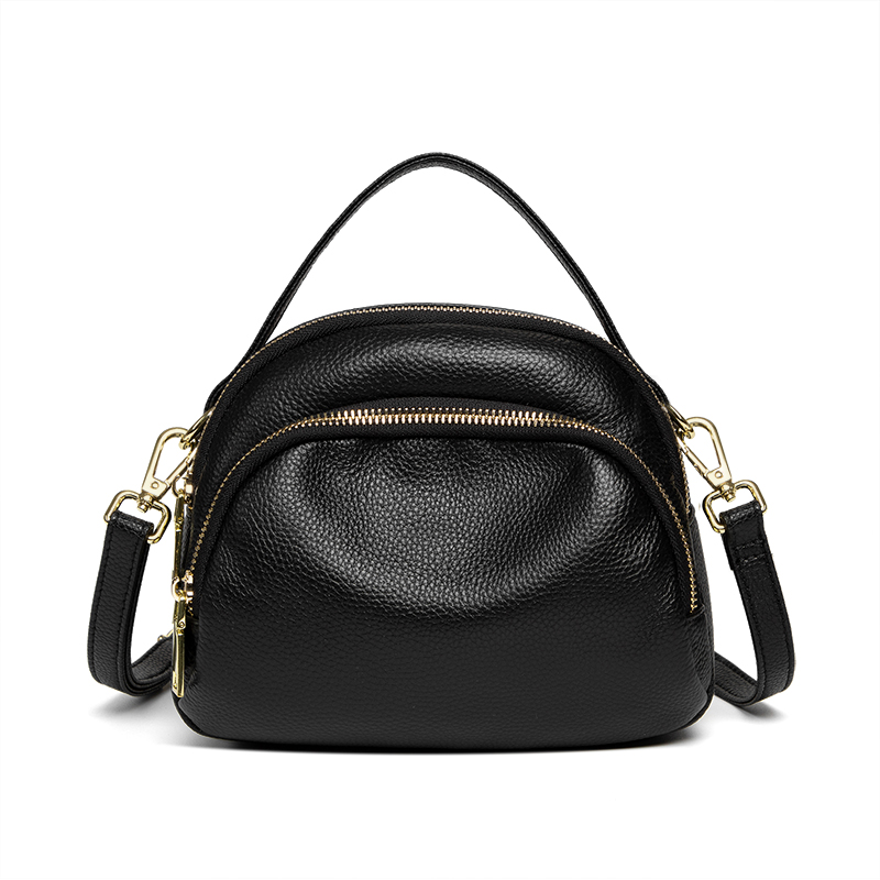 2021 new multi-layer simple fashion small bag three layers of soft leather lychee grain single shoulder slung women bag trend