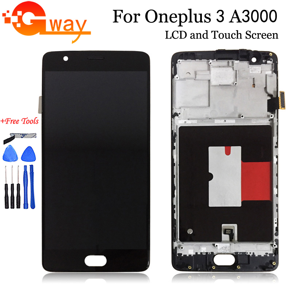 For OnePlus 3 LCD + Touch Screen Assembly Repair 5.5 inch For OPPO OnePlus Three A3000 A3003 Phone With Frame|Mobile Phone LCD Screens| |  - title=