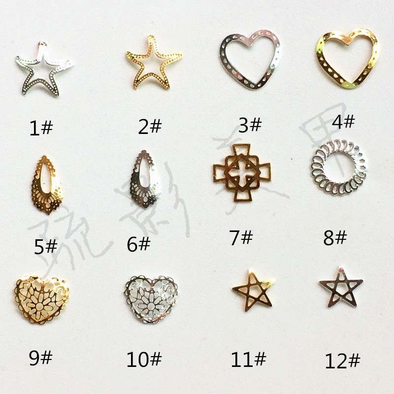 Japanese-style New Style Hollow Out Five-pointed Star Starfish Metal Heart Water Droplet Chinese Knot Circle Nail Ornament Nail