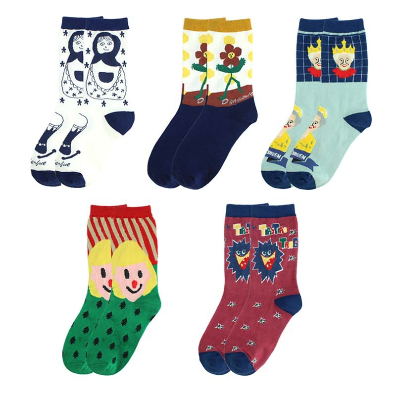 Adult Size Mid Calf Crew Funny Socks Dancing Flower Queen Cartoon Cute Lovely Toy Russian Dolls Popping Candy Pop Sugar Girl Sox
