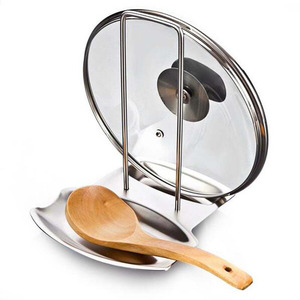 Image 1 - 1Pcs Kitchen Accessories Stainless Steel Pot Lid Shelf Kitchen Organizer Pan Cover Lid Rack Stand Sponge Spoon Holder Dish Rack