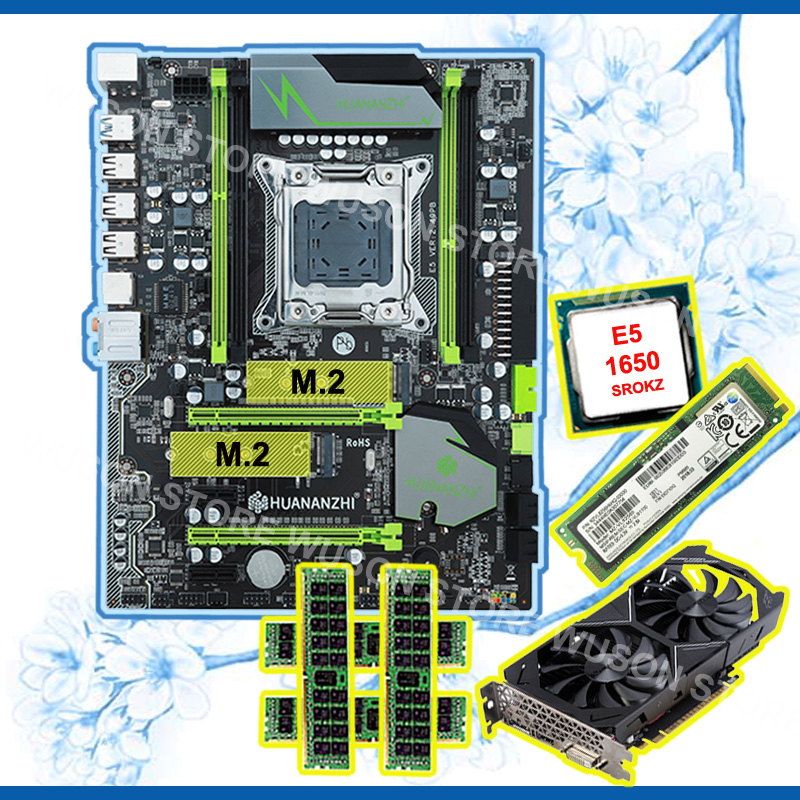 Discount Motherboard With 256G SSD HUANANZHI X79 Pro Motherboard With CPU Xeon E5 1650 RAM 64G(4*16G) Video Card GTX1050Ti 4G