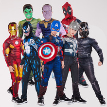 The Avengers I Bambini Supereroe spiderman Capitan America iron man panther Thor Cosplay Abbigliamento Muscolare Costume di Halloween per I Bambini