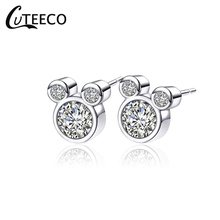 CUTEECO Dropshipping Trendy Silver color Dazzling Miky Mouse Push-back Brand Stud Earrings for Women & Gift Jewelry