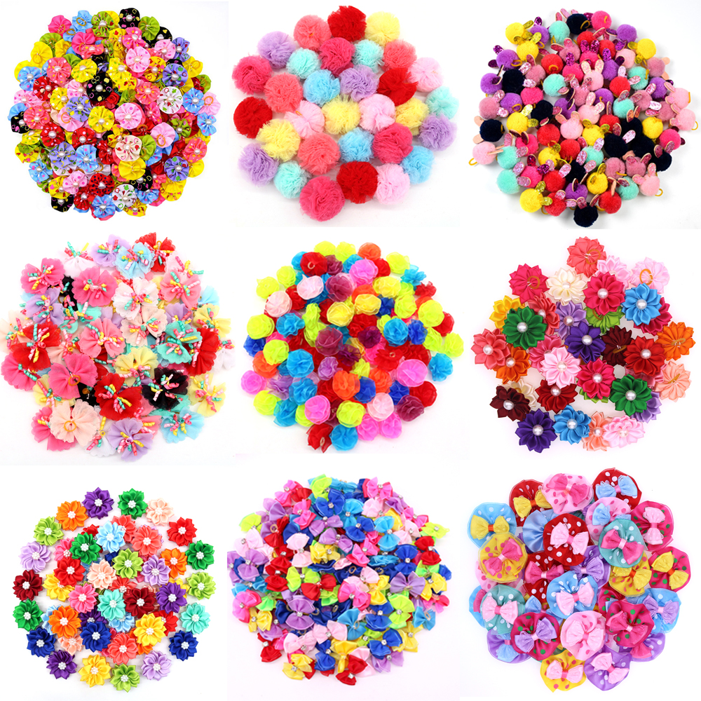 20PCS Cute Handmade Small Puppy Dog Hair Bows font b Pet b font Dog Hair Accessories