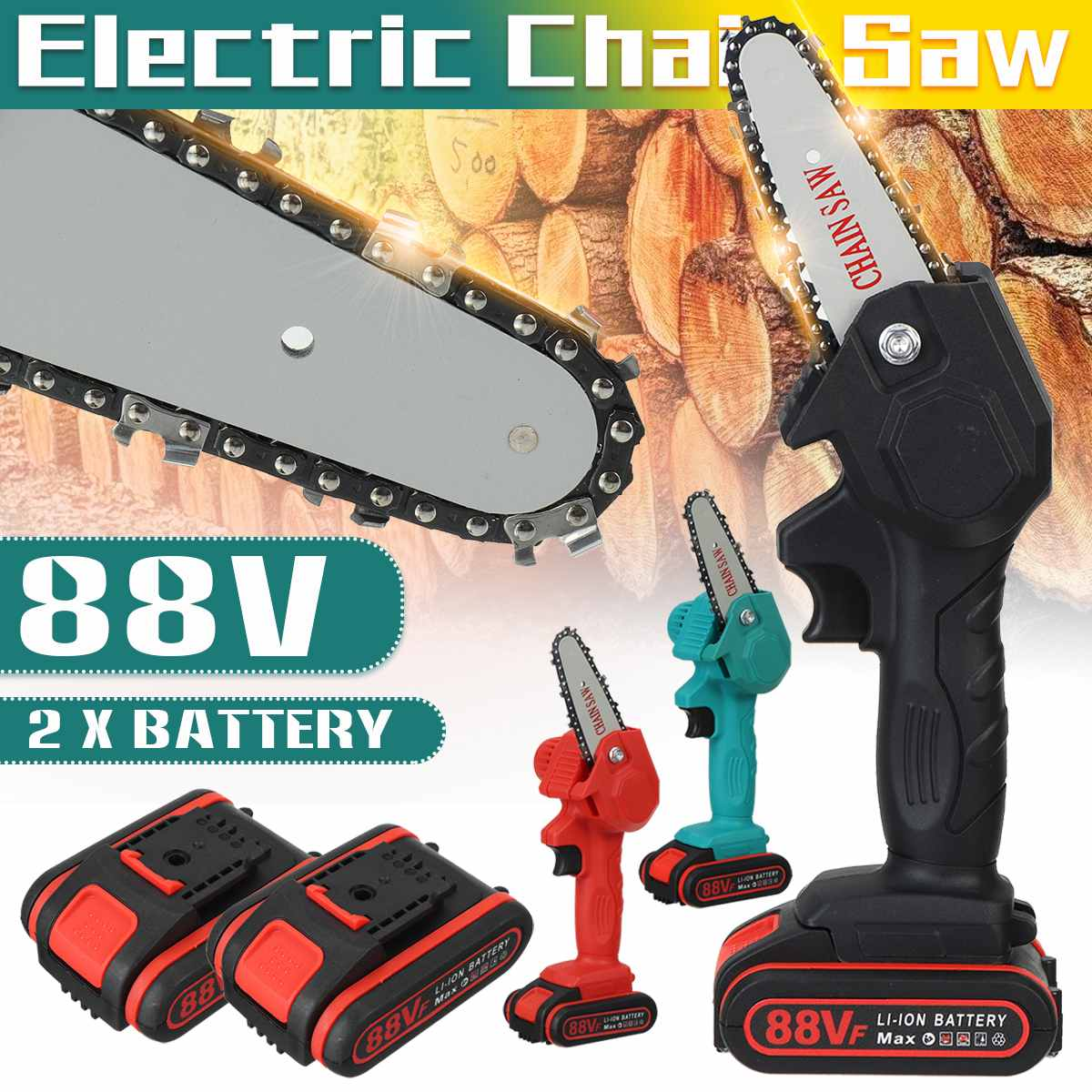 1080W 4 Inch 88V Mini Electric Chain Saw With 2PC Battery Woodworking Pruning One-handed Garden Tool Rechargeable EU Plug