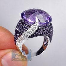 Элегантные большие круглые фиолетовые циркониевые кольца с кристаллом