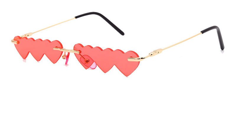 2020 Small Rimless Punk Sunglasses Women Luxury Fashion Red Pink Heart Unique Rectangle Sun Glasses For Female Vintage Lunette