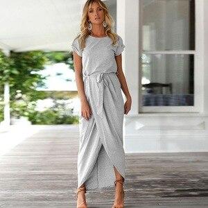 Maxi Dress Women fashion Sexy Women O-neck Short Sleeve Dresses Tunic Summer Beach Sun Casual Femme Vestidos Lady Clothing Dress