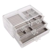3-Layer 4-Drawer Transparent Durable Plastic Soft Dustproof Liner Jewelry Storage Box Watch Case earrings/necklace D