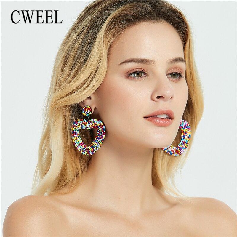CWEEL Drop Earrings Beads Tassel-Fringe Wedding-Jewelry Boho Ethnic Colorful Trendy Party