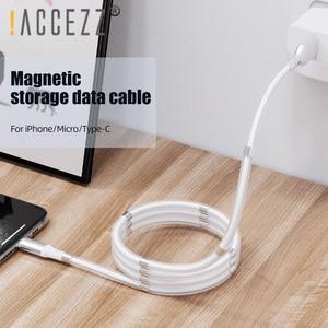 ¡! ACCEZZ-Cable magnético para iPhone 11 Pro XS, Samsung, Xiaomi, Huawei, Cable magnético de sincronización de datos, Micro USB tipo C