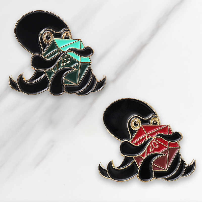 Gurita Memeluk Hexagon Enamel Bros Hijau Merah Tombol Pins untuk Tas Pakaian Lencana Kartun Perhiasan Hadiah untuk Teman-teman
