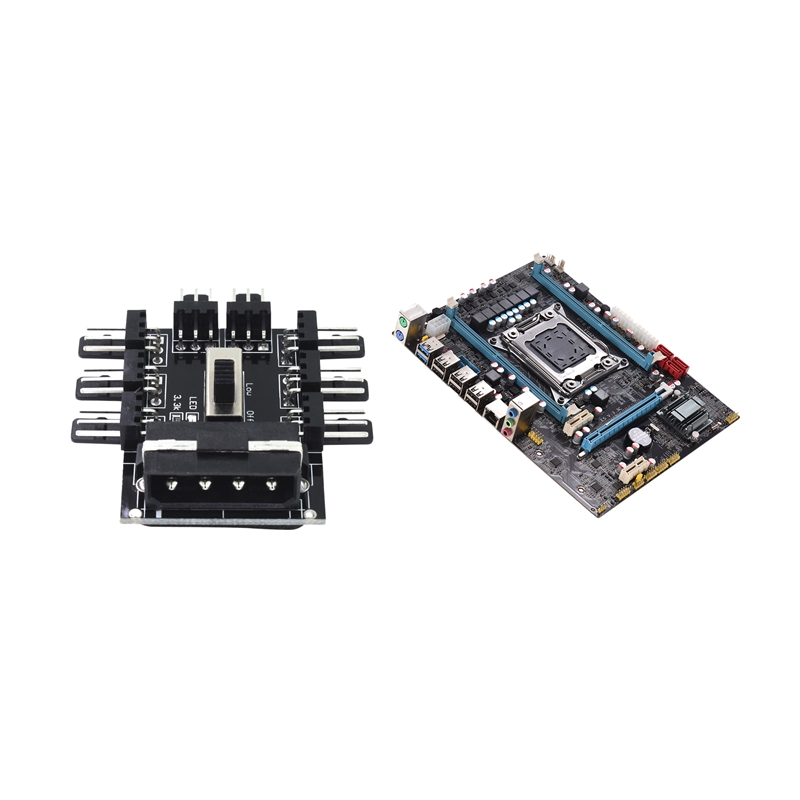 2 Pcs Motherboard : 1 Pcs E5 3.3C Motherboard Lga <font><b>2011</b></font> X79 Lga2011 <font><b>Socket</b></font> Motherboard Server & 1 Pcs 1 To 8 4Pin Molex <font><b>Cooler</b></font> Hu image