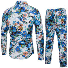 Mens New Hawaiian Floral Printed Two Piece Set Suit Long Sleeve Shirts Sweatpants Conjunto Large Size 5XL Cotton Linen Male Suit(China)