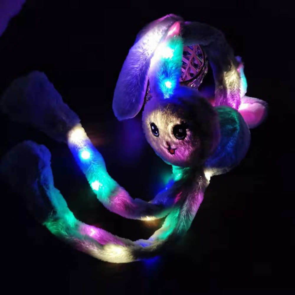 Winter LED Shine  Moving Rabbit Ear Hat Velvet Toys With Light Hair Hoop Hat Earmuffs Plush Toy Gifts For Children Warm Earmuffs