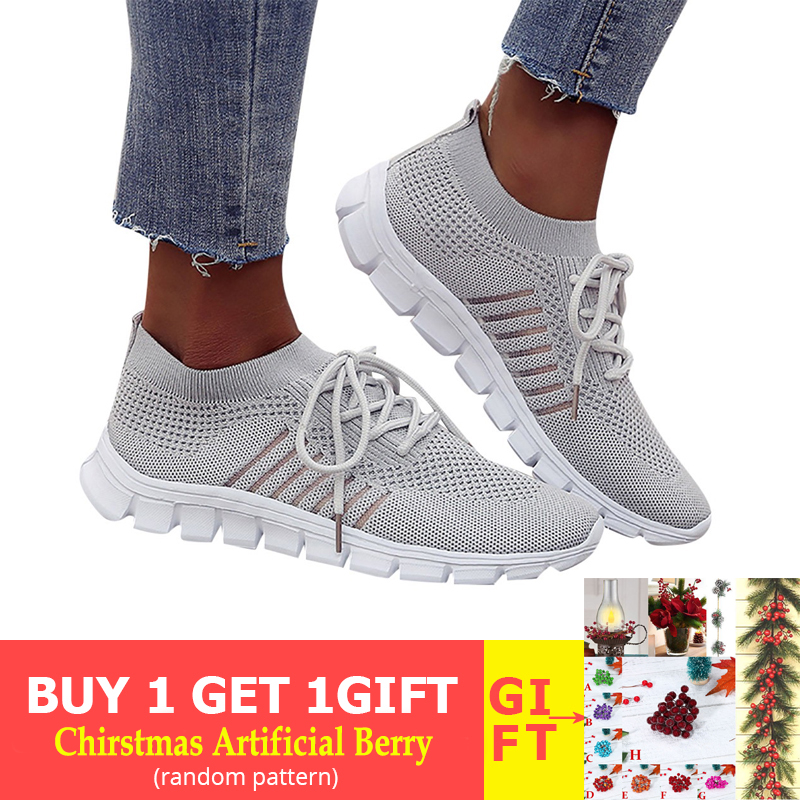 YOUYEDIAN Walking Mesh Lace Up Flat Shoes Sneakers Women Weaving Socks Sneakers Casual Student Breathable Mesh Female#521g35