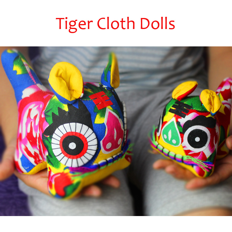 Handmade Cloth Tiger Dolls Stuffed Style Folk Handicraft Plush Good Luck Toy Chinese New Year Special Birthday's Gifts