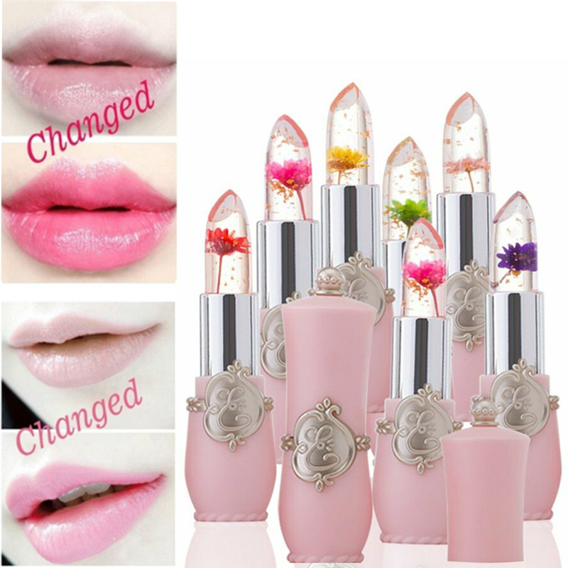 Beauty Lipstick Moisturizing Long Lasting Flower Crystal Jelly Lipstick Magic Temperature Color Changing Lip Balm Makeup