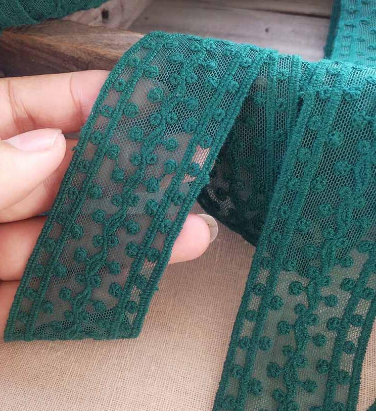 2 м/лот 4 см ширина, изящная симпатичная зеленая хлопковая вышитая сетка, кружевная одежда, аксессуары для шитья своими руками