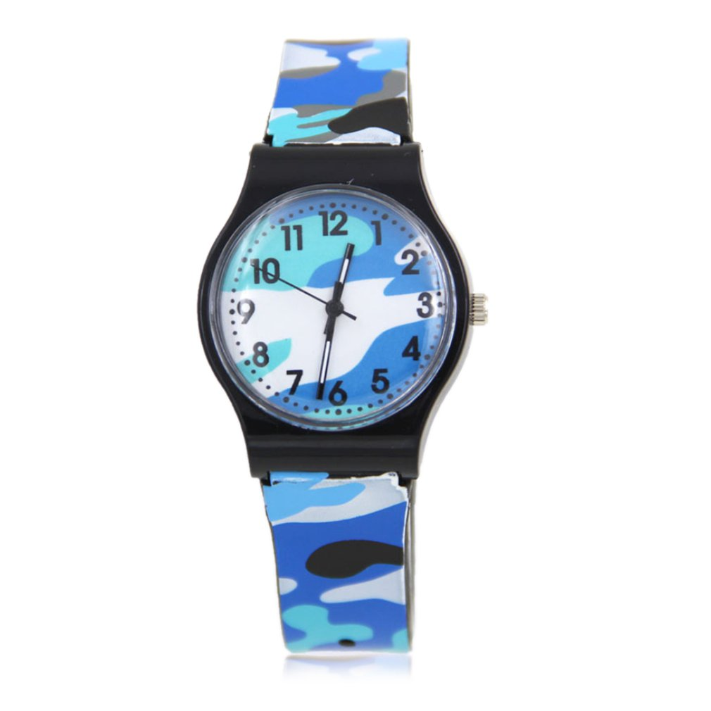 Kids Girls Plastic Wrist Watch Analog Quartz Sport Watch Camouflage Cartoon Watch PVC Wristband Clorful Wristband For Boys GIFTS