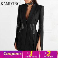 KAMIYING New Arrival Lace Up Split Blazer For Women Notched Collar Long Sleeve Elegant Coat Female 2020 Fashion Clothing