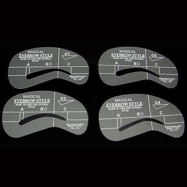 4Pcs Eyebrow Shaping Stencil Set Grooming Tools Drawing Card for Dashing Eyebrows C1-C4 SK88