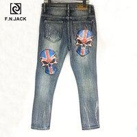 F.N.JACK Mens Jeans Cool Guy Slim Straight Full Length Zip Fly Denim Pants for man