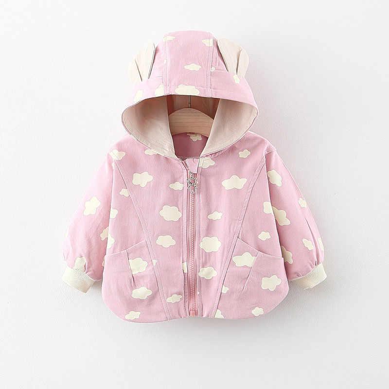 Wiosna jesień noworodka dziewczynek ubrania dorywczo wiatrówka z kapturem płaszcz dla niemowląt ubranie dla dziewczynki strój wykop odzieży wierzchniej płaszcz