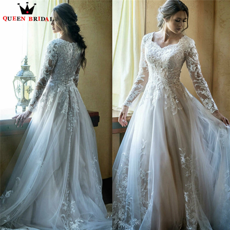 2020 New Arrival Wedding Dresses A-line Long Sleeve Tulle Lace Beading Appliques Vintage Elegant Wedding Gowns Customize EY23