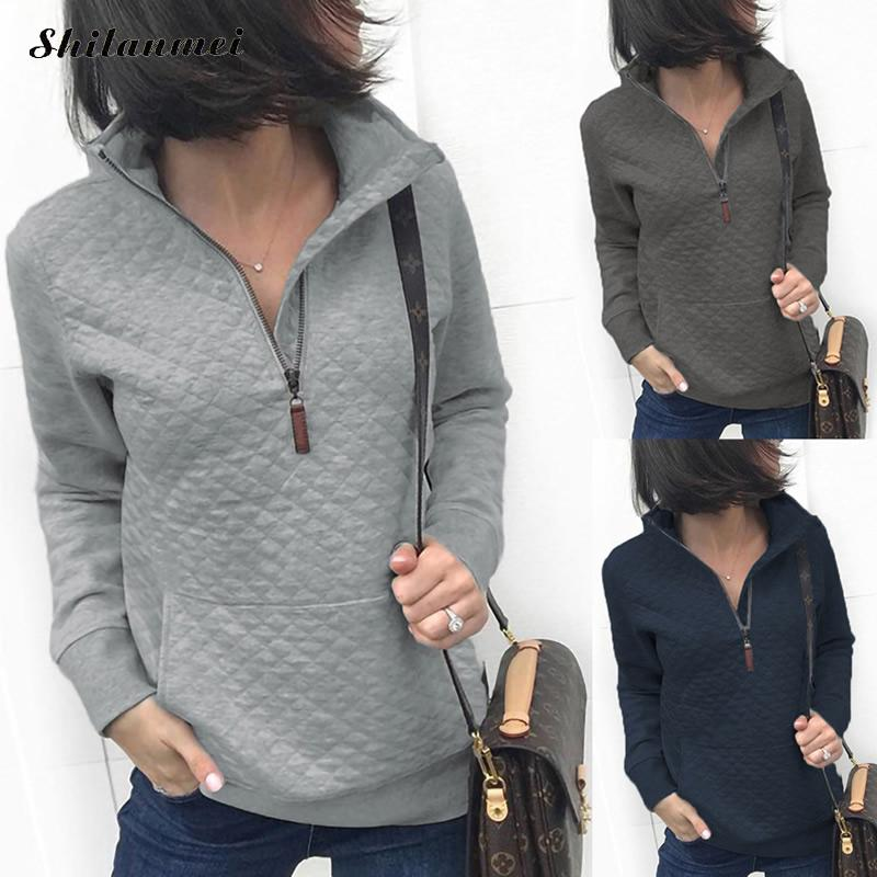 Autumn Long Sleeve Sweatshirts Women Hoodies Half Zipper Streetwear Causal Solid Color Female Pullover Hoodies Grey Sweatshirt