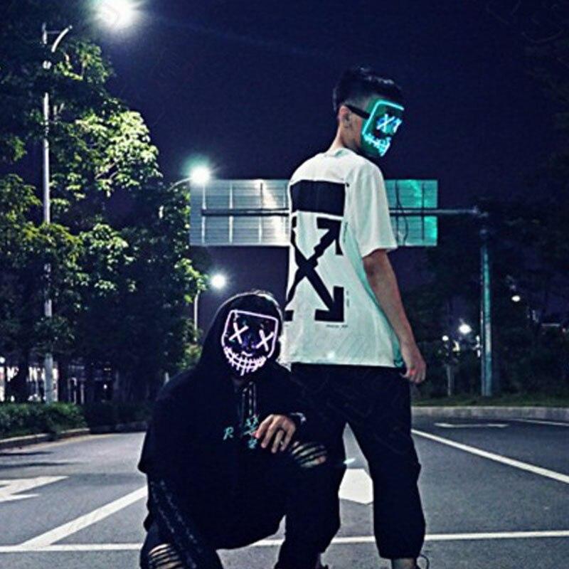 Крутые красочные светодиодный Вечерние Маски на открытом воздухе, светильник, маски для продувки, веселые маски для праздников Хэллоуина