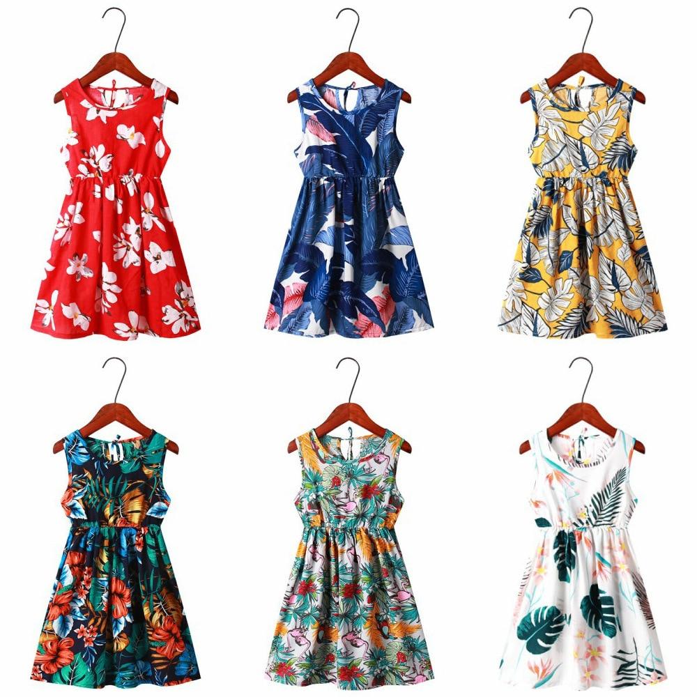 Детское платье для девочек; Летняя детская одежда для девочек; Хлопковые летние платья без рукавов с цветочным рисунком для детей; Одежда для малышей; Платья для девочек Платья      АлиЭкспресс