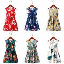 Crianças menina vestido de verão criança meninas roupas algodão sem mangas flor crianças vestidos verão para roupas do bebê meninas vestidos