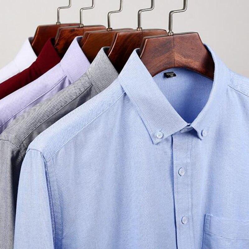 Hommes étudiants à manches longues mode bonbons couleur unie Oxford pur coton lavé Slim Fit chemises décontracté qualité grande taille