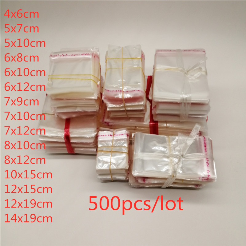 500pcs Transparent Self Adhesive Seal Plastic Bags Jewelry Packaging Bags OPP Poly Self Sealing Clear Cellophane Bag Jewelry Bag