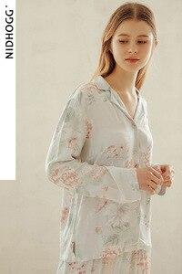 Image 3 - ฤดูร้อน Tribute ซาตินดอกไม้พิมพ์ชุดนอนหวานแขนยาวชุดนอน Loungewear ผู้หญิง Turn down Collar ชุดนอนเสื้อผ้า