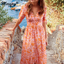 Moxeay Button High Waist T Shirt Dress Womens Stylish Chiffon V Neck Printed Floral Maxi Dress With Waisted Belt Plus Size New floral plus size maxi empire waist dress