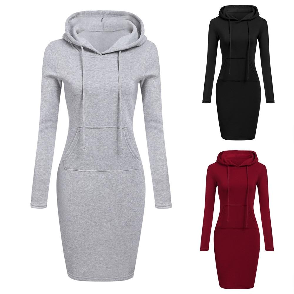 Платье женское теплое с длинным рукавом и капюшоном|Платья| | АлиЭкспресс