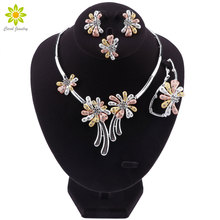 Nieuwe Afrikaanse Sieraden Sets Zilver Kleur Trendy Ketting Oorbellen Armband Ring Vrouwen Sieraden Set Bruiloft Accessoires