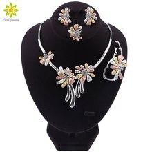 Nuevos conjuntos de joyas africanas, Collar de plata de moda, pendientes, anillo de pulsera para mujer, conjunto de joyas, accesorios de boda