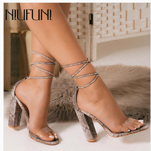 Sexy Peep Toe Snake Pattern Transparent Ankle Strap Women Sandals Summer High Heels Women Sandals Plus Size 35-42 Women Shoes ladies transparent square high heel sandals sexy peep toe mesh ankle boots summer high heels sandals women size 34 40