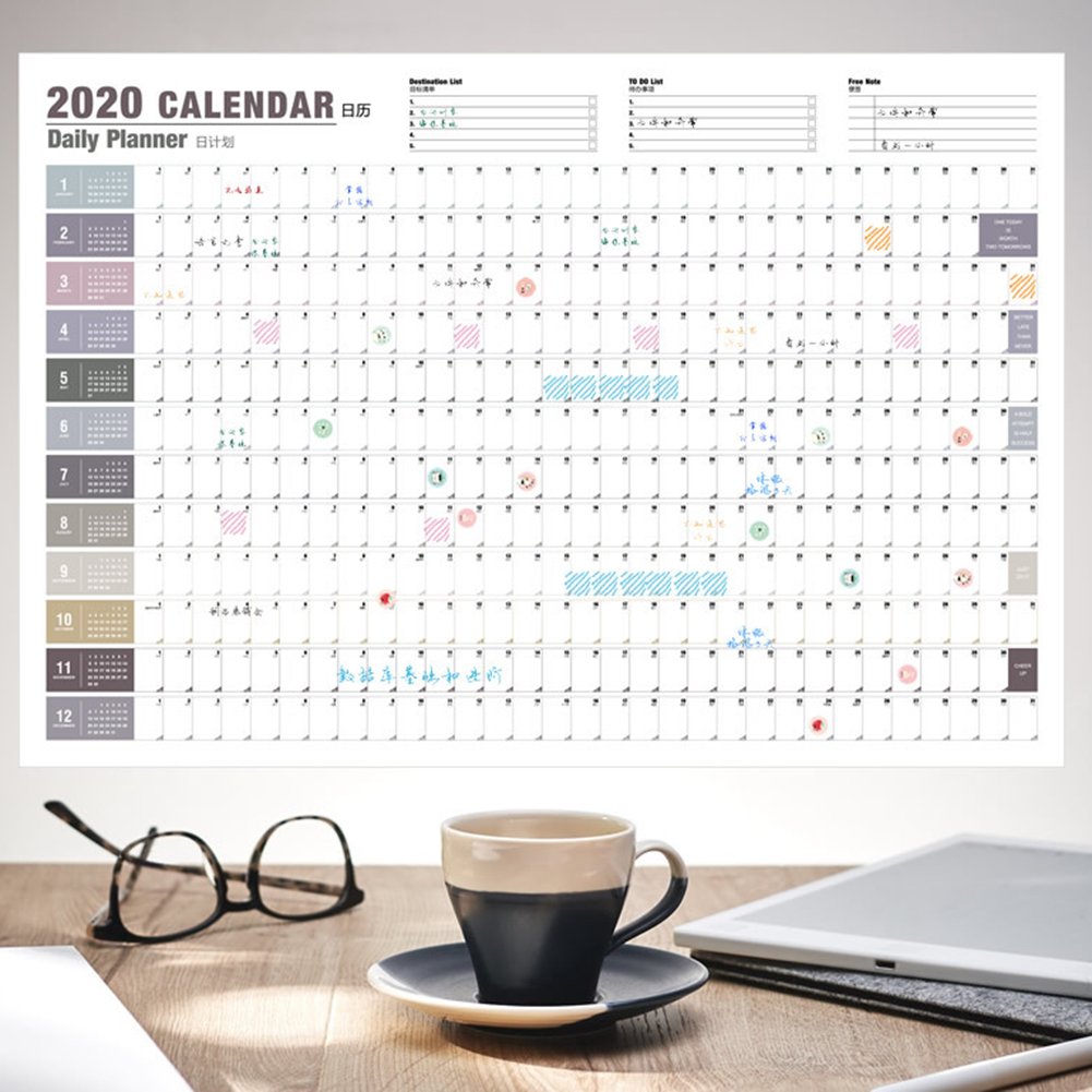 1PC 2020 Planner Wall Calendar 365/100 Days Daily Monthly Yearly Agenda Schedule Note Paper With Label Stickers Office Supplies