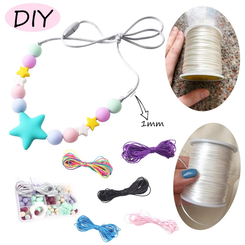 Купить с кэшбэком Bite Bites 1pc Satin Silk Rope Nylon Cord Colorful 1mm 80m Baby Teether Accessories Teething Necklace Rattail Cord DIY Tool Toys