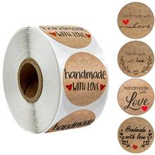 100-500pcs Kraft Paper Sticker Homemade With Love Stickers For Envelope Package Seal Labels Stationery Handmade Adhesive Lable