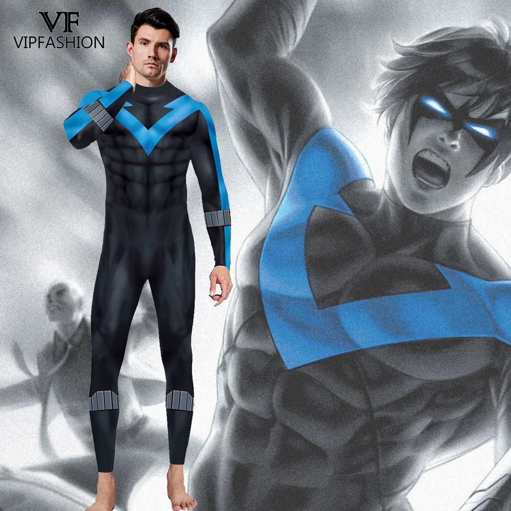 VIP FASHION New DC Comic Batman Nightwing Cosplay Costume  Superhero Anime Zentai Suit Bodysuit Halloween Costume For Males