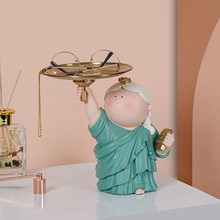 Creative Fat Girl Sculpture Storage Resin Art Statue Metal Tray Nordic Home Decoration Living Room Table Decoration Accessories